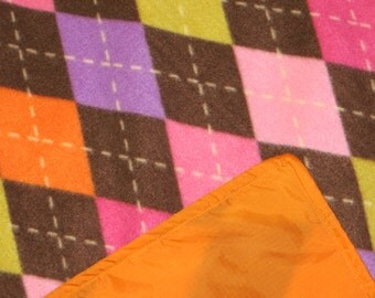 Picnic Blankets - Waterproof - Colorful Brown Argyle