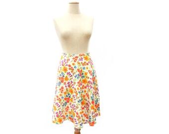 Vintage 70s A Line Skirt Colorful Floral Linen Skirt Knee Length White Flower Print Skirt Unworn 4 Gore Skirt size Small Medium