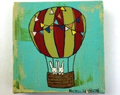 Hot Air Balloon Bunnies 4 x 4 Original Painting on Canvas