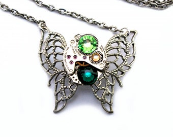 Steampunk Necklace - Green Crystal Butterfly with Emerald Green Yellow Topaz Peridot Swarovski Crystals PROMPTLY SHIPPED Steampunk Jewelry