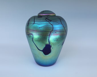 Loved Pet Urn - Rainbow Glass - Hand Blown - Free Shipping [My stock # is EFU-14 .]