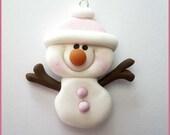 SALE Polymer Clay Pale Pink Snowman Stick Arm  Charm Pendant