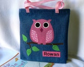 Girls Owl Book Bag Birthday Party Gift Bag Personalized Gift Book Bag Toddler Book Bag Children's Library Book Bag Preschool Book Bag