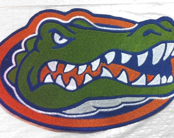 """FLORIDA GATOR embroidered Iron on Applique - 3.86"""" x 2.43"""" - Made in USA - Free U.S. Shipping"""