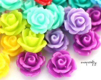 20pc icing rose resin flower cabochon / 10mm flower cab / flatback flower embellishments / stud earring cabs / pastels +bright colors
