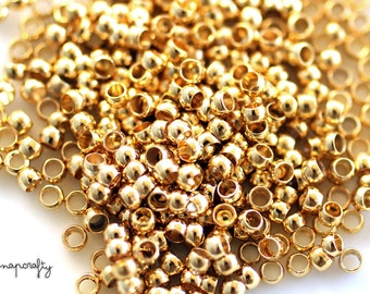 100pc crimp beads gold plated / 2mm crimp beads / lead-free, nickel-free finding