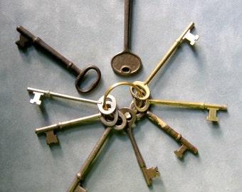 Vintage Skeleton Keys, Instant Collection, Nine Large Keys on Ring