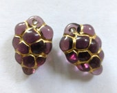 Vintage German Trans Amethyst with Gold Grape Cluster Puffed Flat Glass Drops, Charms  16x10mm (2)