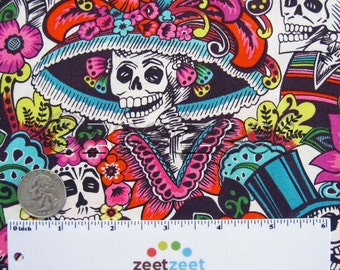 CATRINA CHIQUITA Natural Brite Hat Skull by Alexander Henry Quilt Fabric by the Yard, Half Yard, or Fat Quarter Fq Day of the Dead Skull