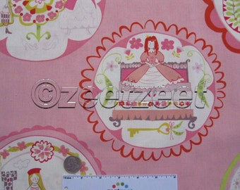 """Sale 1.4 Yards FAIRYTALE Pink Storybook Illustration Alexander Henry Fairy Tale 100% Cotton Quilt Fabric - 1 Yard & 15"""" long by 45"""" wide"""