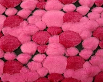 "Sale BUBBLE Faux FUR Pink Fabric by the Yard - A Yard is HUGE - 36"" Long by 58"" wide Sculptured"