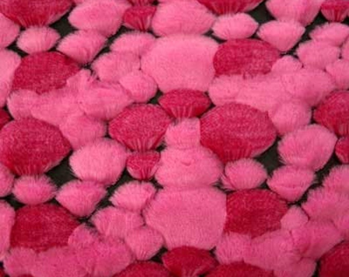 """Sale BUBBLE Faux FUR Pink Fabric by the Yard - A Yard is HUGE - 36"""" Long by 58"""" wide Sculptured"""