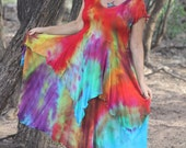 Rainbow Love Gypsy Priestess dress in soft rayon knit with angel sleeves created by Wunjo Crow