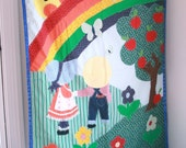 Vintage fabric wallhanging for a kids room or nursery rainbows cutesy