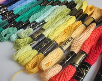 20 Mixed Pure Cotton Embroidery Threads