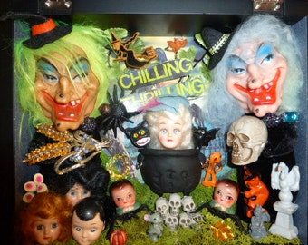 Vintage Inspired Halloween Shadowbox The Witching Hour is Near