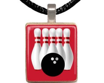 Scrabble Pendant, Scrabble Necklace, Bowling Necklace, Team Necklace, Bowler Necklace (BOWLING)