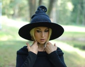 Witch wizard hat black felted from wool  Halloween costume witch costume CUSTOM MADE choose your own colors