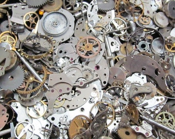 2 1/2 oz 70 grams Vintage Watch movements parts cogs gears Steampunk   Z 60