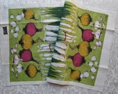 Vintage Towel Kitchen Linens Lois Long Mid Century Retro Tea Towel Onions Garlic MWT Unused Table Runner Dish Towel Dischcloth Dish Cloth