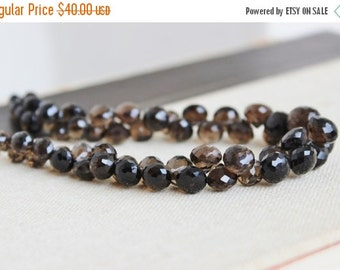 Clearance SALE Smoky Quartz Gemstone Briolette Faceted Onion 7.5mm 35 beads 1/2 Strand