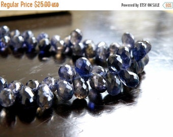 51% Off Sale Iolite Gemstone Briolette Faceted Teardrop Top Drilled 7 to 8mm 27 beads