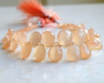 Peach Moonstone Gemstone Briolette Faceted Pear Tear Drop 6.5 to 7.5mm 38 beads