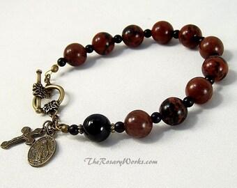 St Benedict Rosary Bracelet Miraculous Medal Holy Spirit Medal Brown Black Mahogany Obsidian Bronze Prayer Beads