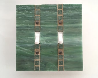Green Light Switch Cover, Double Toggle Switchplate, Stained Glass Mosaic, Green Switch Plate, Dimmer Switch, Wall Switch Plate, 8425