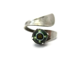 Sterling Wrap Ring - Venetian Art Glass, Millefiori, Green White, Silver Jewelry, Statement Ring