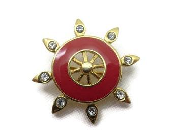St John Jewelry - St John Brooch, Nautical Ship Wheel, SJ, Rhinestones, Red Enamel, Designer Costume Jewelry