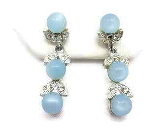 Blue Moonglow Earrings - Lisner - Rhinestones, Clips, Something Blue