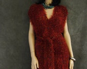 OOAK,Clothing,Crochet, Red, Tunic, Dress, Women, Sleeveless,Small,