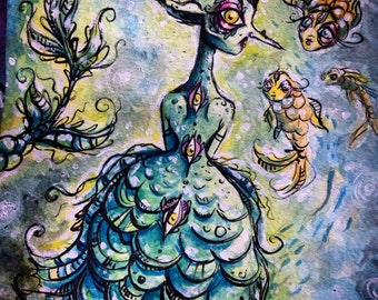 The Goblin Mermaid original pen and ink drawing and Watercolor painting