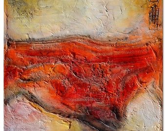 Abstract painting red, Original Abstract Painting, cream beige Painting, Sculpted Textured Painting, Abstract art, unique painting, red art