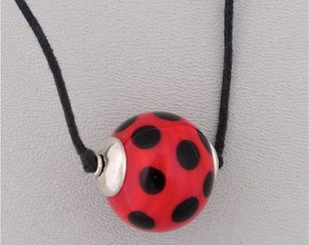 Summer Sale Lamp Work Glass Bead Red with Black Dots on Black Cord With Two Sliding Knots