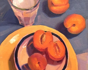 "Kitchen art fruit painting ""Apricots and Milk"" original by Oregon artist Sarah Sedwick 10x10"""