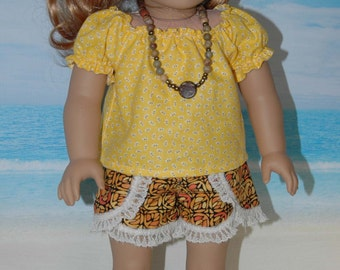 American, made, girl, doll, clothes, fit, 18 inch, doll clothes, blouse, shorts