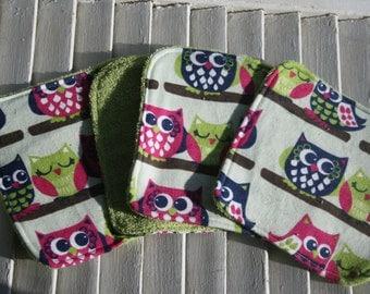 Set of 4  Washcloths,Reusable Wipes, Napkins Fun Owl Print
