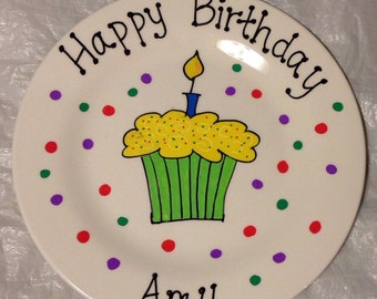 BIRTHDAY PLATE Cupcake plate cake plate 1st birthday happy