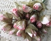 24 Handmade Paper Millinery Pink Mix Flower Rose Buds