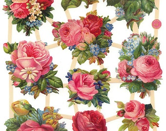 German Paper Scraps Lithographed Victorian Die Cut Roses  7411