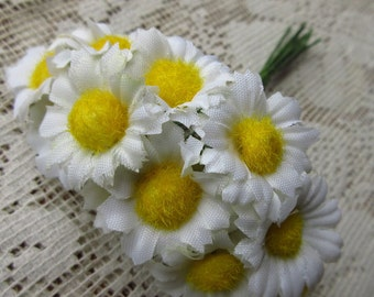 12 Fabric Millinery Flowers Ivory Daisy Daisies