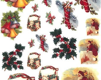 Made In Italy Rice Paper Decoupage Sheet Vintage Images Christmas  RCP-FS-51