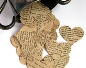 50 antique 1740s paper hearts Latin Greek hand punched book page hearts for your craft projects
