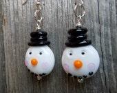 Lampwork Style Glass Snowman Head Earrings