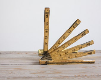 vintage. antique. industrial. craftsman extension ruler. measuring tape. wood. wooden. yard stick.