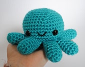 Amigurumi Crochet Octopus Plushie / Big Octopus Plush - Bright Teal Blue Octopus - Ready to Ship