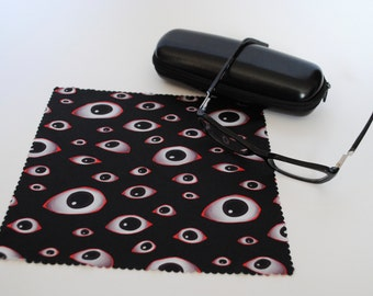 Microfiber Eyeglass Cloth / Microfiber Cleaning Cloth - Creepy Eyes