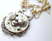 Steampunk Winged Heart Vintage Clock Face Necklace With Pearls